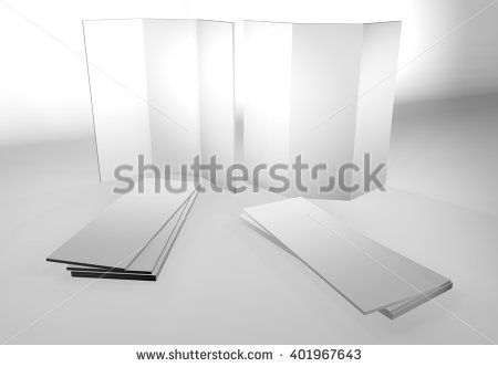 blank empty brochure catalog mockup in 3d render view with open - blank brochure