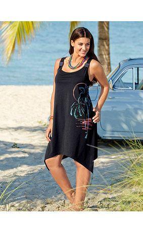 69950110 - Strandkleid mit Zipfelsaum, Träger mit Ziersteinen