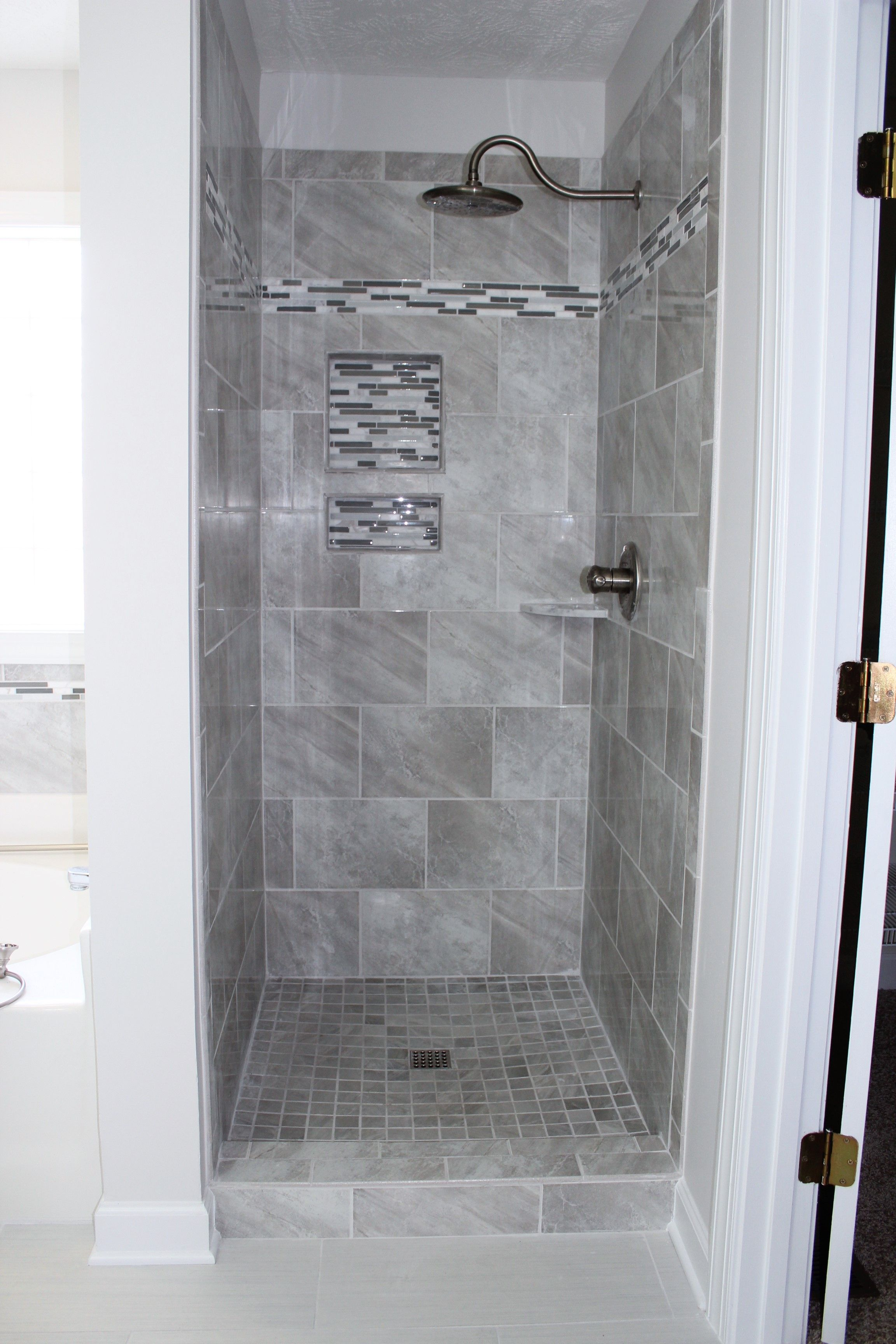 Avondale Castle Rock 10x14 Tile Installed Vertical Stacked In Shower Shower Tile Designs Bath Tiles New Home Designs