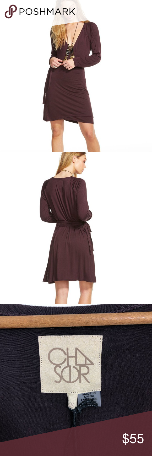 8c7e889b94 Chaser Plum Cool Jersey Wrap Dress Chaser women s plum colored cool jersey  wrap dress. Chaser