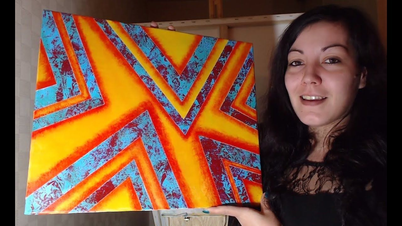 Tutoriel Peinture Debutant Fond Acrylique Et Ruban Adhesif