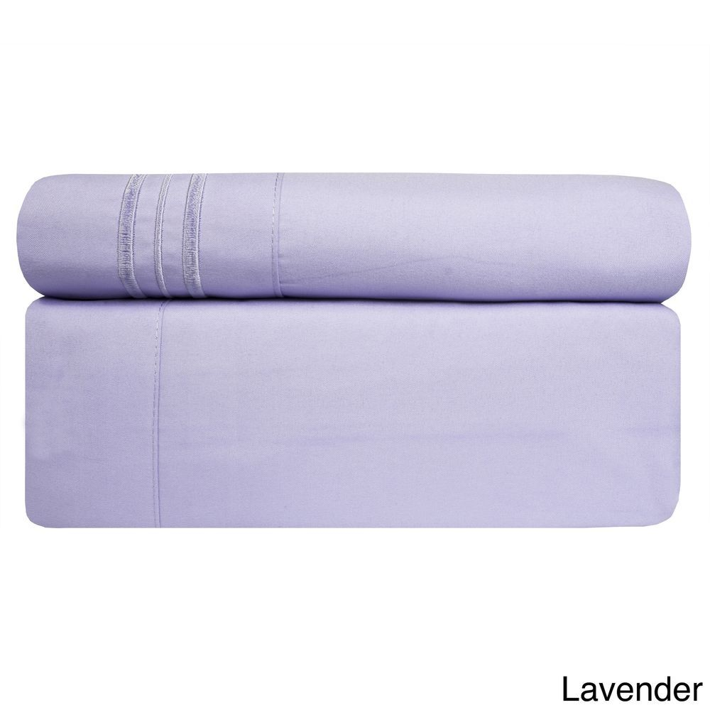3 Piece TWIN Lavender Bed Sheet Set Fitted Flat Pillowcase New