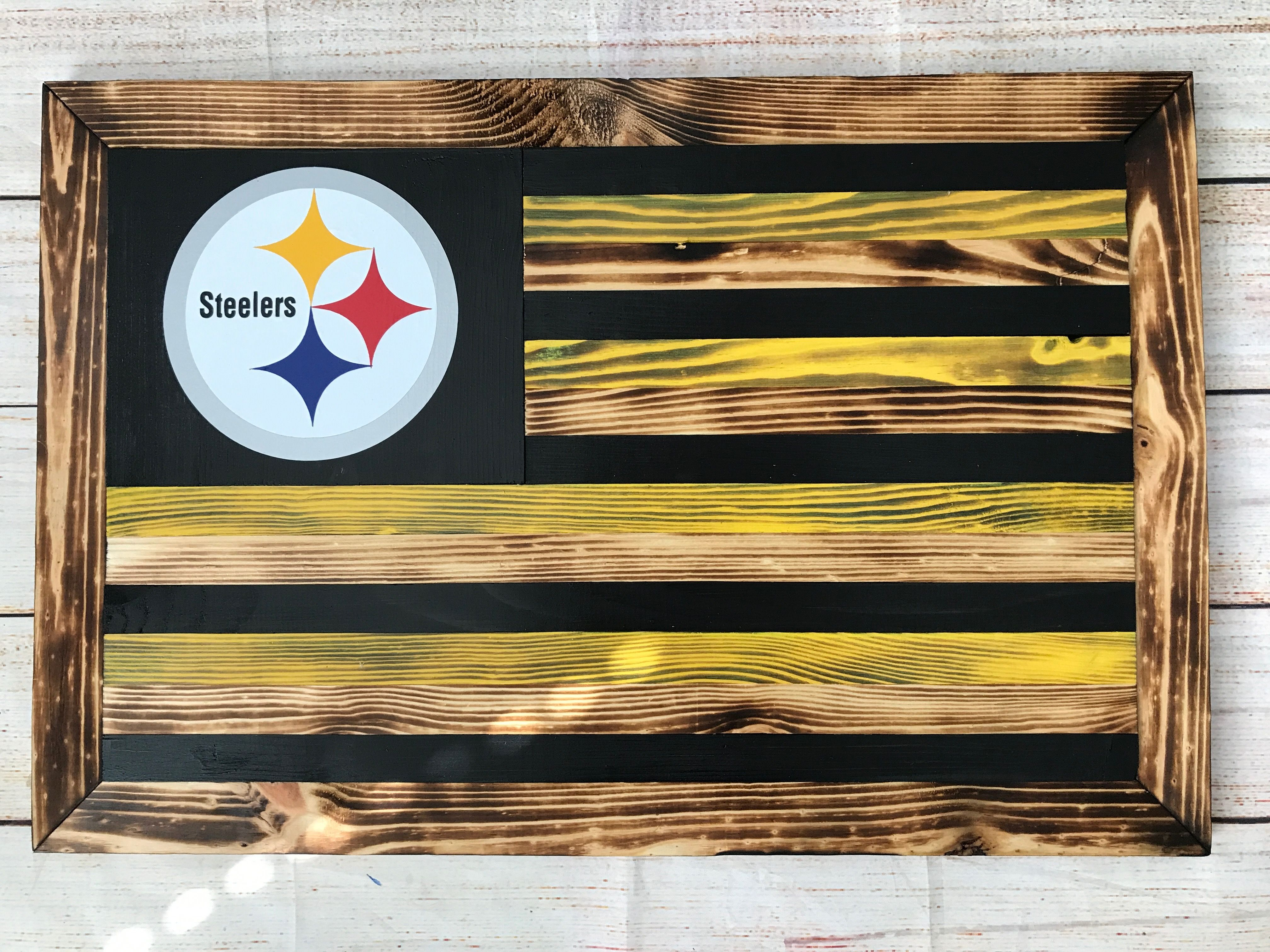 Pittsburgh Steelers Wooden Flag Wall Decor Etsy Com Shop