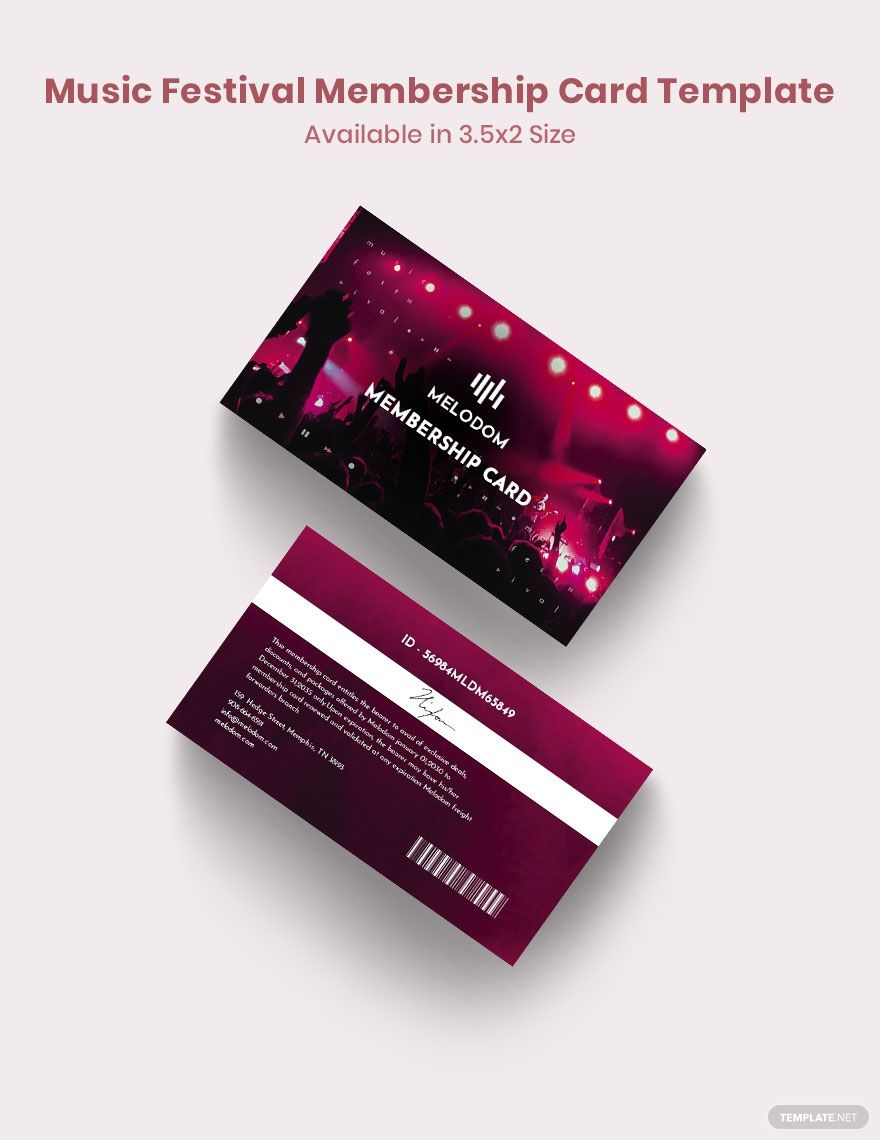 Music Festival Membership Card Template Free Pdf Word Psd Indesign Apple Pages Illustrator Publisher Membership Card Music Festival Cards