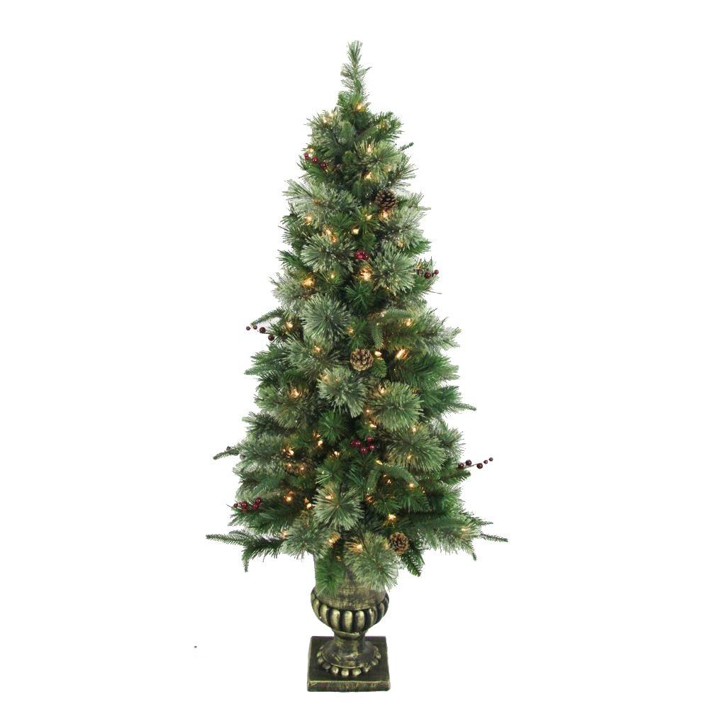 Home Accents Holiday 5 Ft Syracuse Cashmere Berry Potted Artificial Christmas Tree With 150 Clear Lights Set Of 2 Bowothd171g The Home Depot Christmas Tree Sale Christmas Tree Shop Potted Christmas Trees
