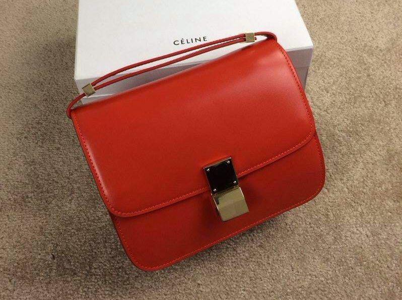 Celine box flap bag in Red  03fa66bb8f8f4