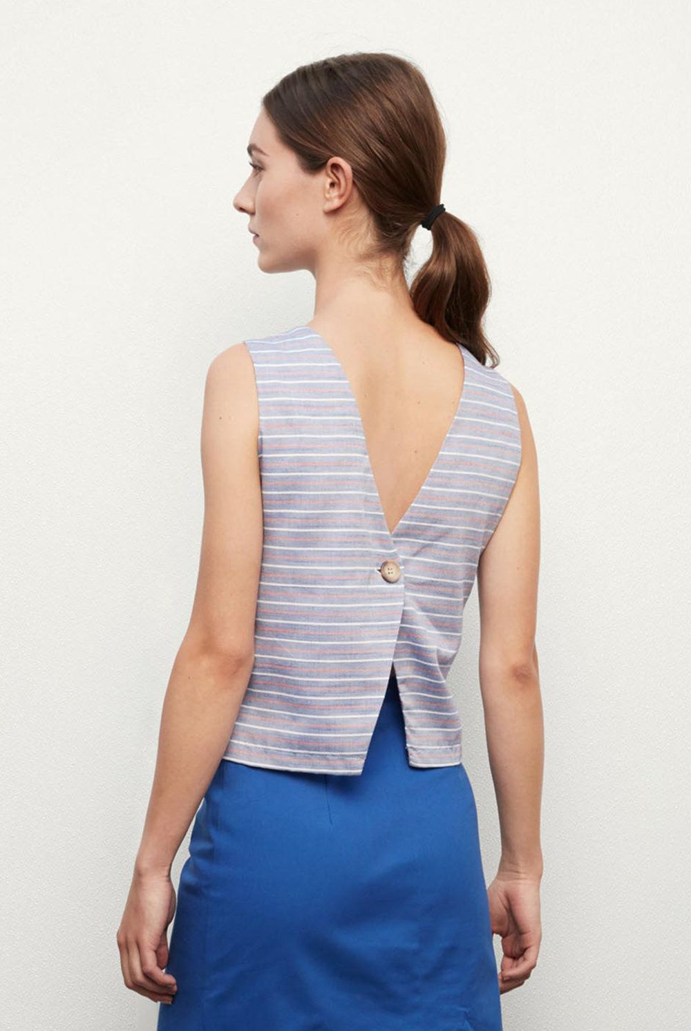 MARCELLE . Stripes Tops, Sleeveless top