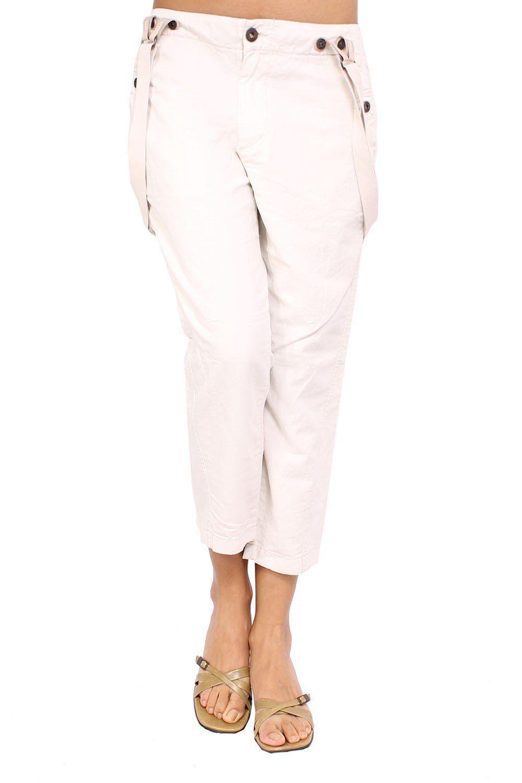 DIESEL - Women's Capri Pants PDUST - beige, W32. Composition: 60% Cotton 40% Linen. Closure Type: Zip. Occasion And Lifestyle: Business.