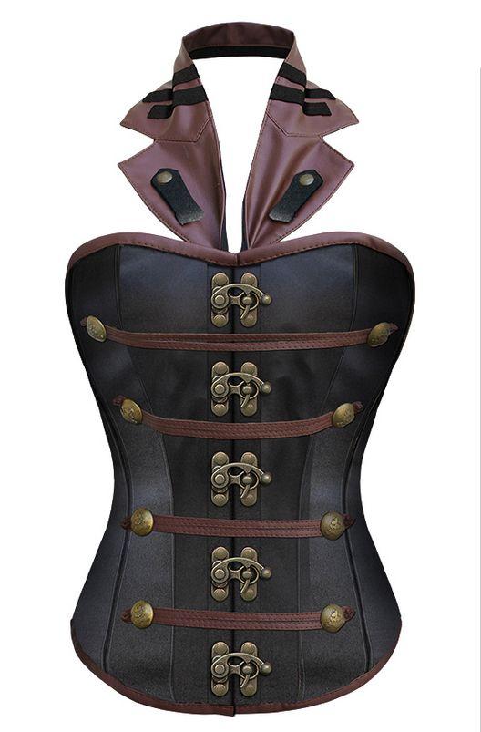 Zwart satijnen steampunk korset