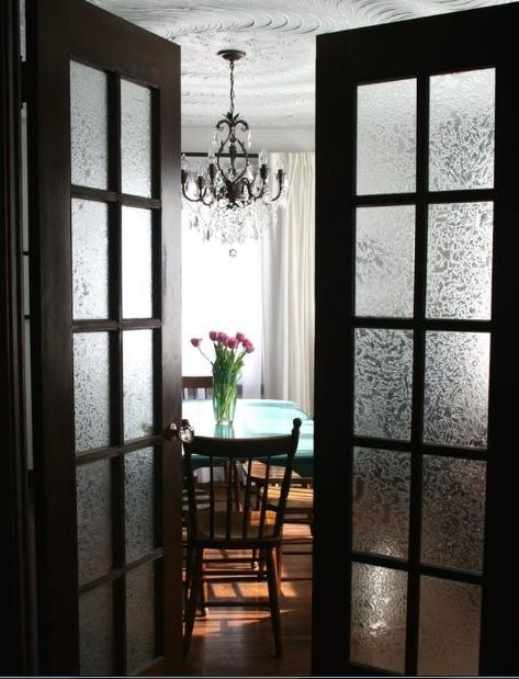 Interior French Doors With Frosted Glass For Dining Room Home