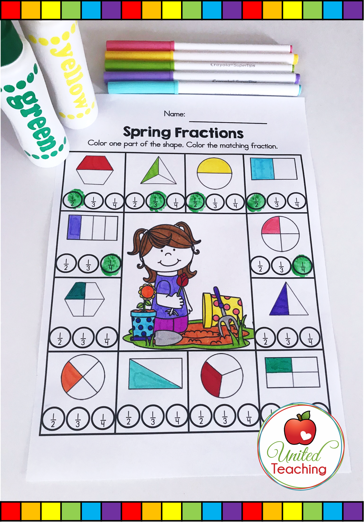 Spring Fractions Math Activity