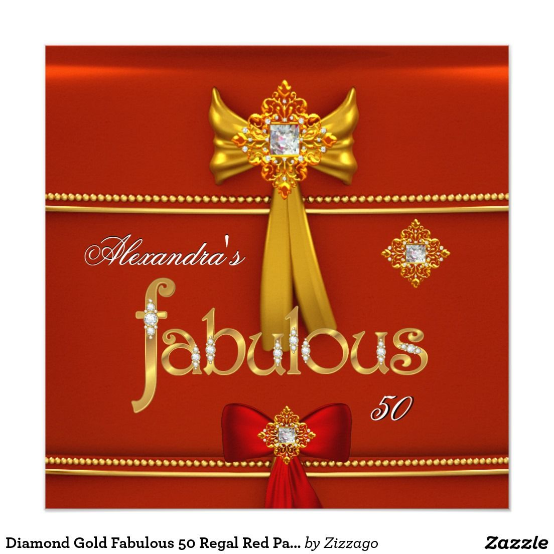 Diamond Gold Fabulous 50 Regal Red Party 5.25x5.25 Square Paper ...