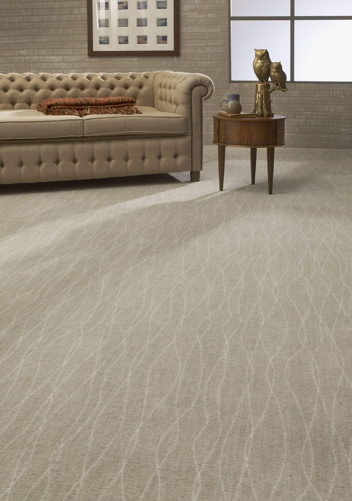 Organic Waves Pattern Neutral Flooring Living Room Ideas