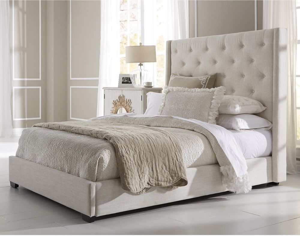 Queen Size Upholstered Bed Button Tufted Headboard Bedroom Furniture Home Decor King Upholstered Bed Queen Upholstered Bed Upholstered Beds
