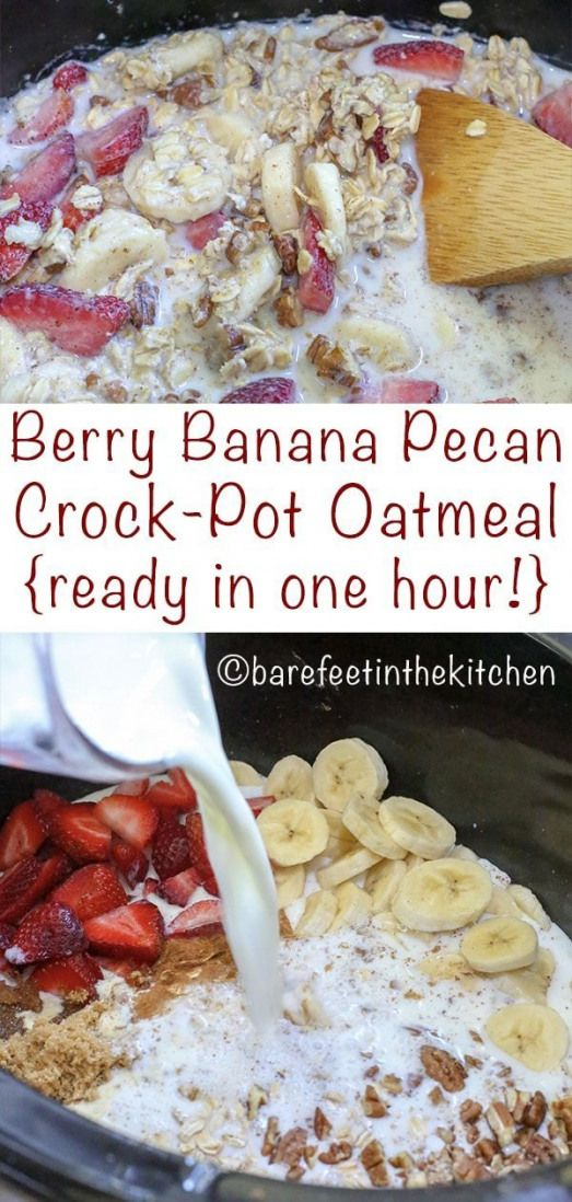 Slow Cooker Oatmeal with Berries Bananas and Pecans