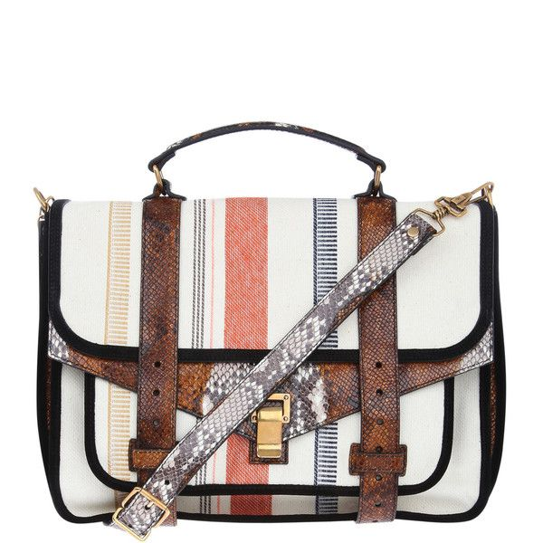 Proenza Schouler PS1 Large Striped Canvas and Leather Satchel found on Polyvore