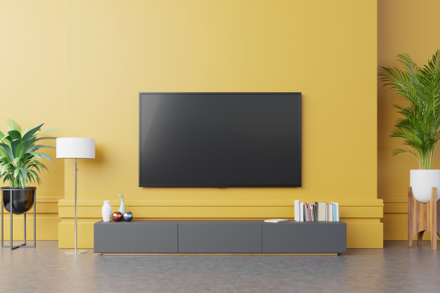 Download Tv On Cabinet In Modern Living Room With Lamp Table Flower And Plant On Yellow Wall Background For Free In 2020 Modern Living Room Yellow Walls Modern Living Room Interior