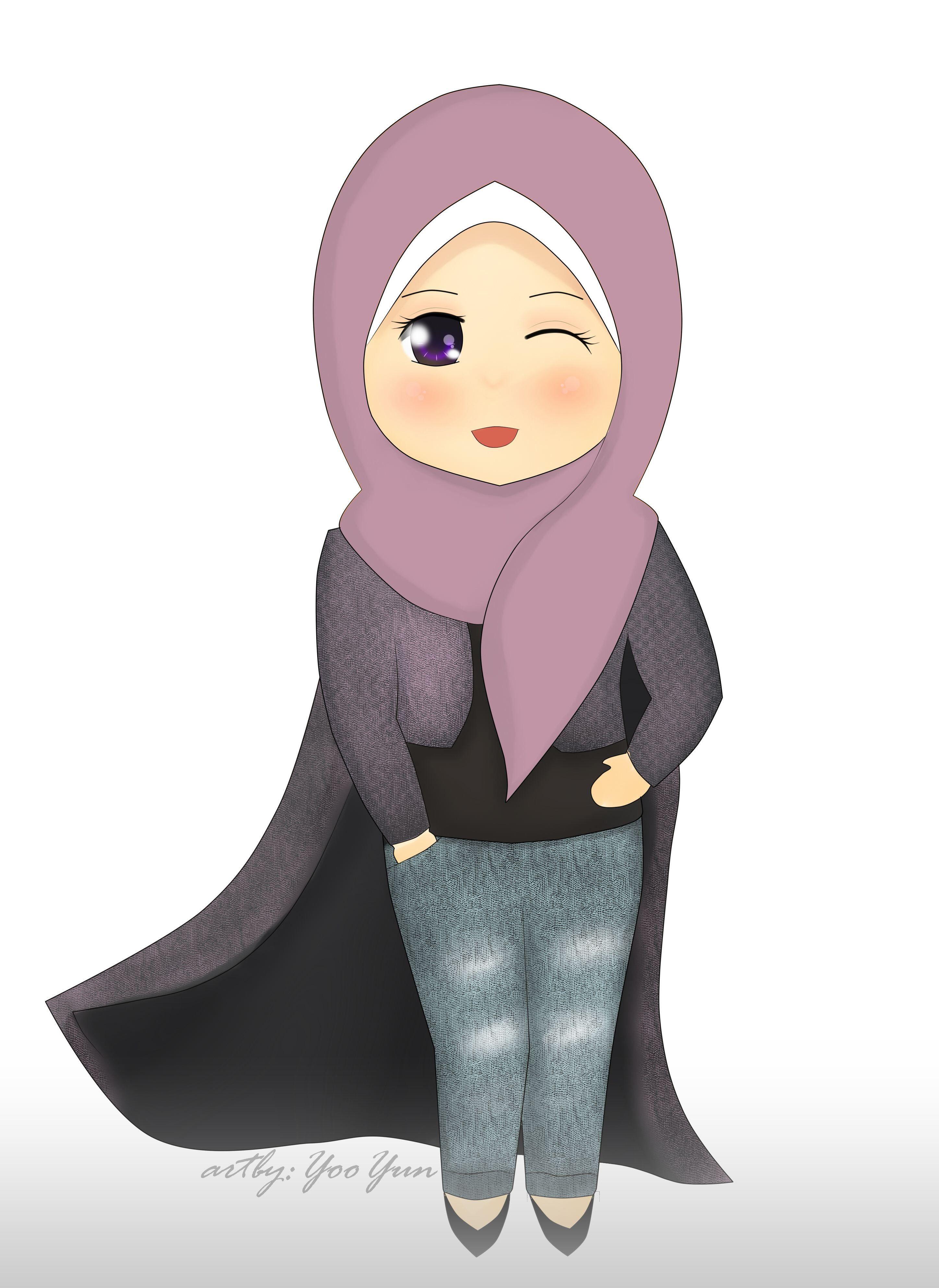 Gambar Kartun Muslimah Polos Kartun, Ilustrasi karakter