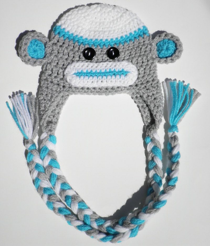 Custom crochet boys blue and gray sock monkey ear flap hat photo prop