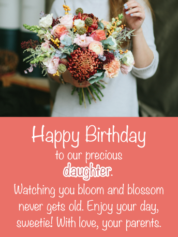 Birthday Cards For Daughter From Parents : birthday, cards, daughter, parents, Bloom, Blossom-, Happy, Birthday, Daughter, Parents, Greeting, Cards, Davia, Cards,
