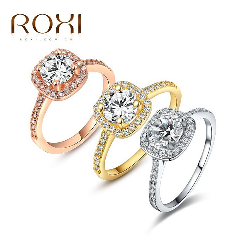 ROXI 브랜드 패션 보석 반지 화이트 골드 도금 지르코니아 환경 석 여성 보석 반지 크리스마스 선물