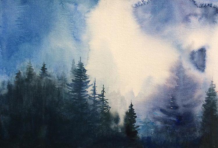 Watercolour Painting Landscape Painting Pine Trees Misty Mountains Watercolor Landsca Watercolor Landscape Paintings Landscape Paintings Mountain Landscape