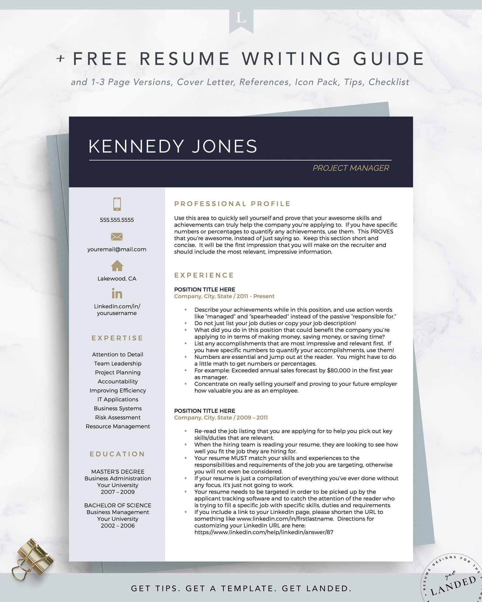 Project Manager Resume Template Creative CV Template for