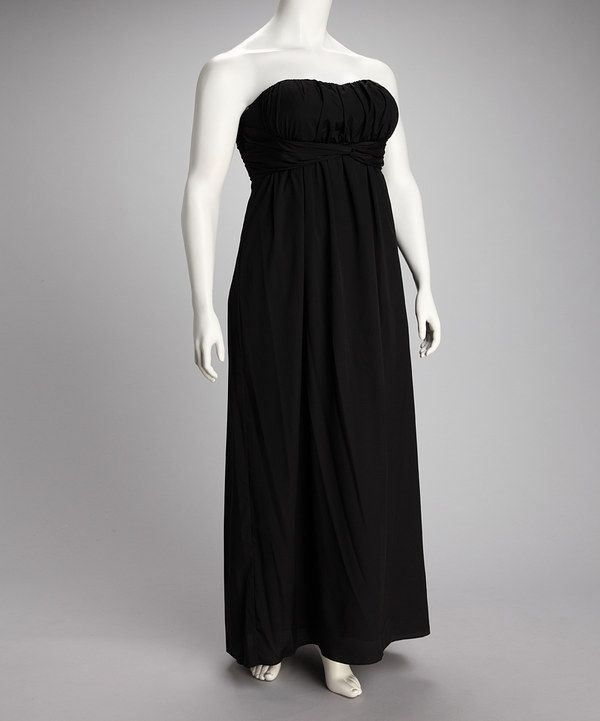 07271abd92ee Take a look at this Black Strapless Maxi Dress - Plus on zulily today!