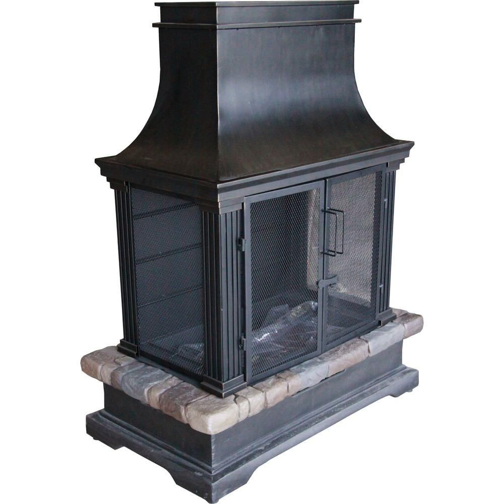 hampton bay sevilla 36 in steel and slate wood burning outdoor rh pinterest ie hampton bay outdoor fireplace parts hampton bay outdoor fireplace in slate