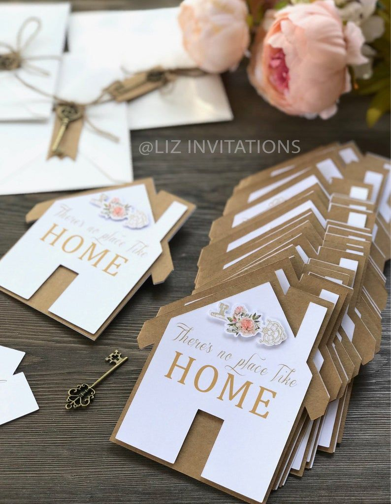 Set of 12 Housewarming Invitations with decorated