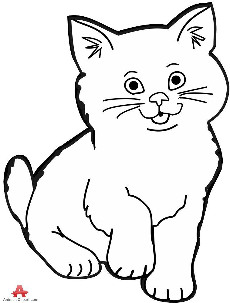 Cat Clip Art Black And White Free Clipart Images 3 Clipartix Gambar Hewan Hewan Menggambar Kucing