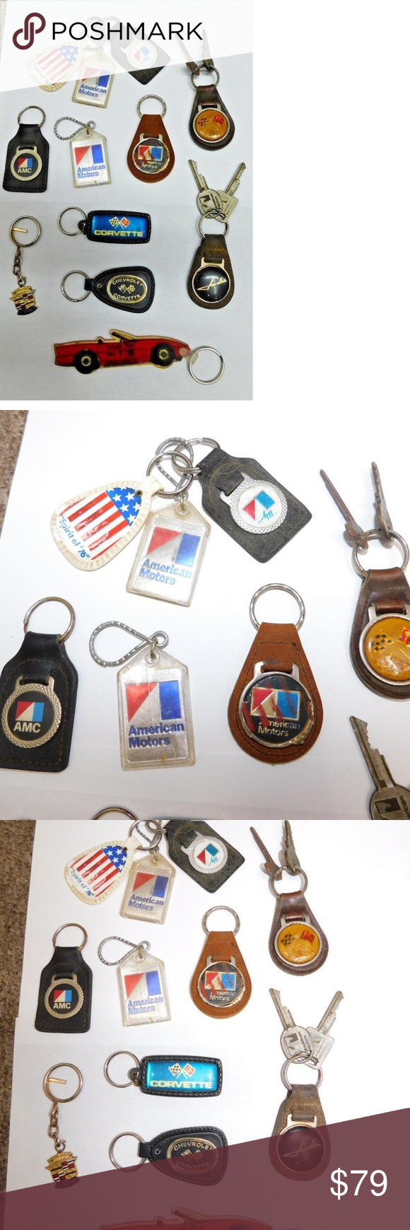 Vintage Lot Automotive KeyChains Corvette Large Lot of