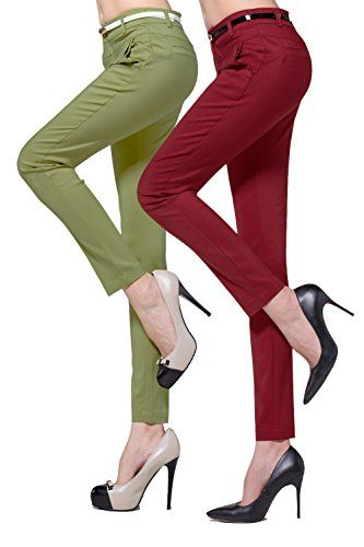 Christi Womens Skinny Dress Pants 2pcs L ArmyGreenRed -- You can find more details by visiting the image link.