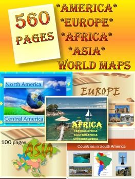 Continents america europe asia africa australia maps bundle north america central america 51 pagespdf north america united states canada greenland mexico central america belize costa rica el gumiabroncs Gallery
