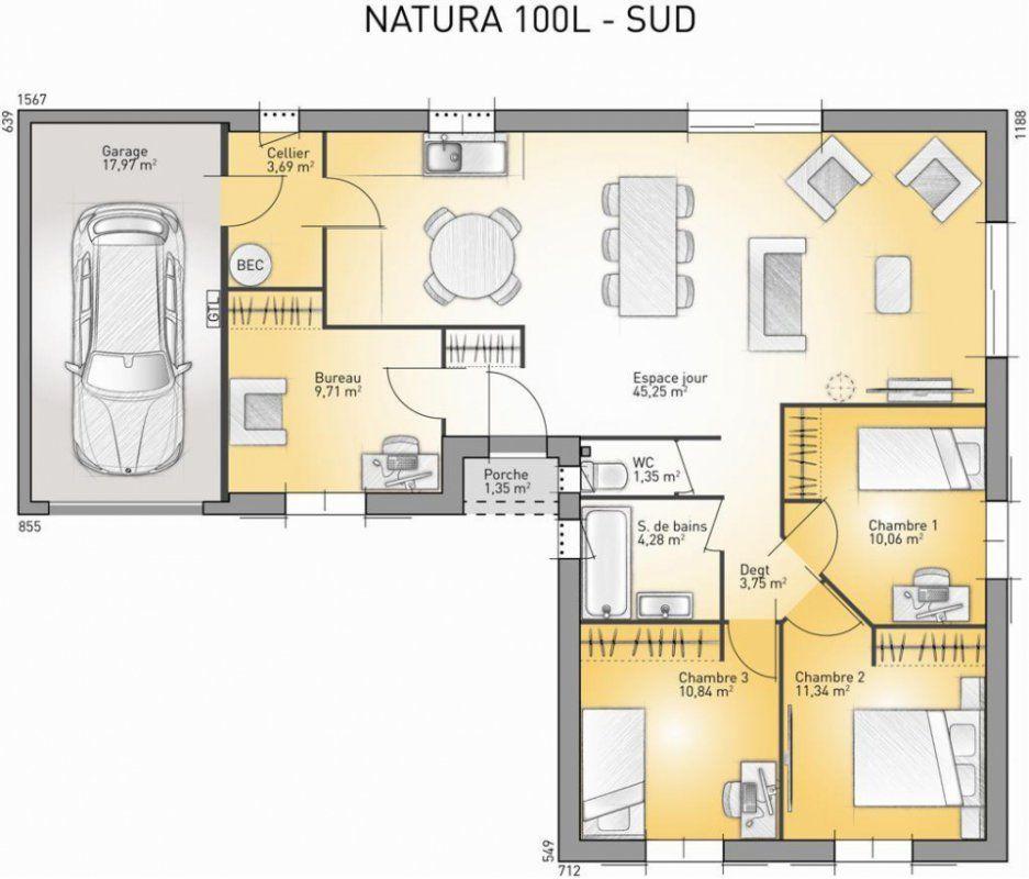 Plan maison contemporaine plain pied en L 3 chambres et garage - maison france confort brignoles
