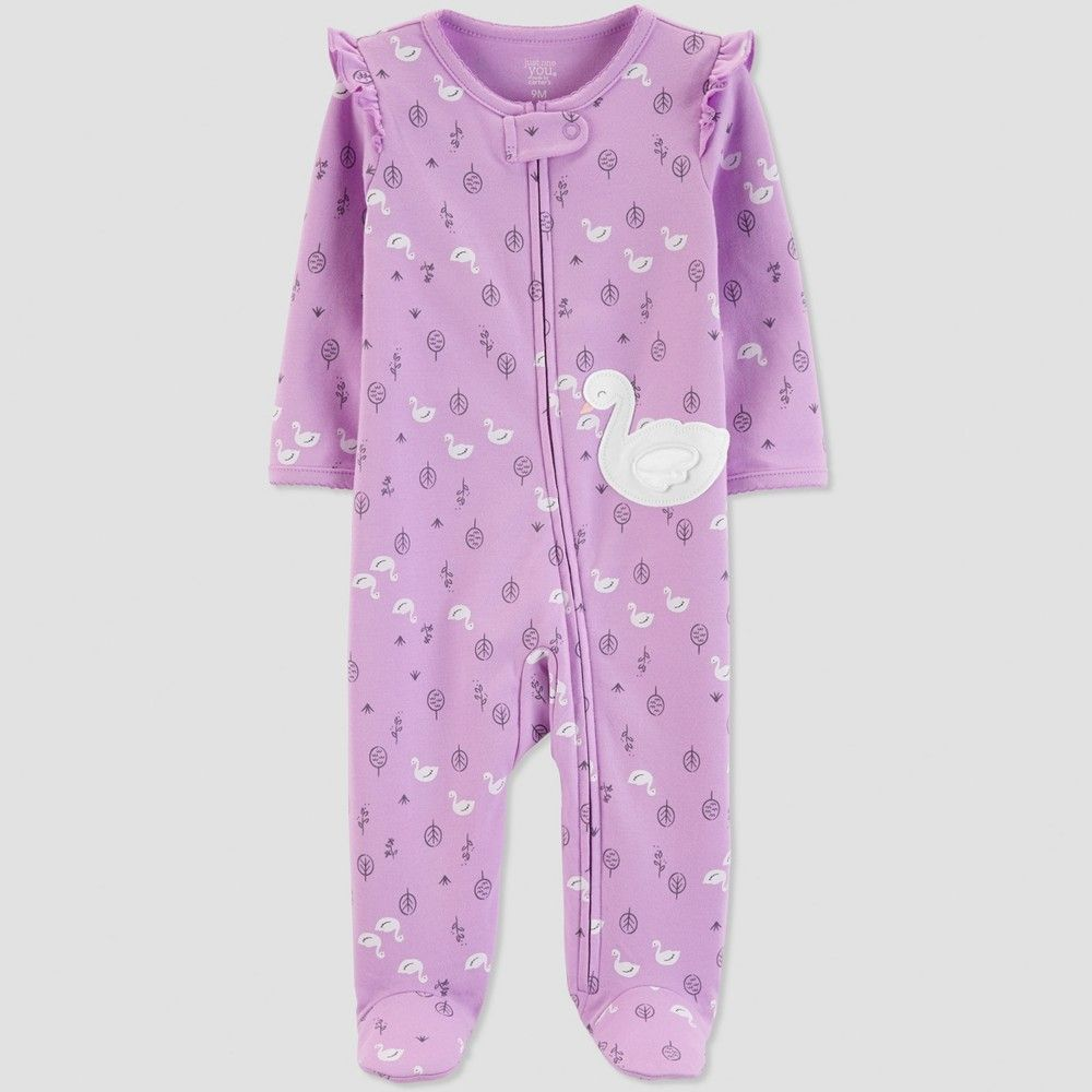 21744e4a8 Baby Girls' Swan Sleep 'N Play - Just One You made by carter's Lilac 3M  Color: Purple. Gender: Female. Age Group: Infant. Pattern: Bird. Material:  Cotton.