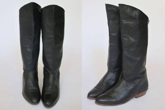 be0e8d2c8d05e 1980s Black Riding Boots    Vintage 80s Vinyl Leather Knee-High ...