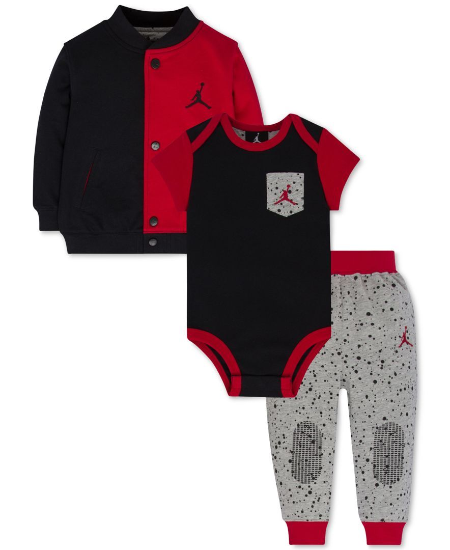 Baby Boy Jordan Clothes Jordan Baby Boys' 3Pcjumpman Jacket Bodysuit & Pants Set
