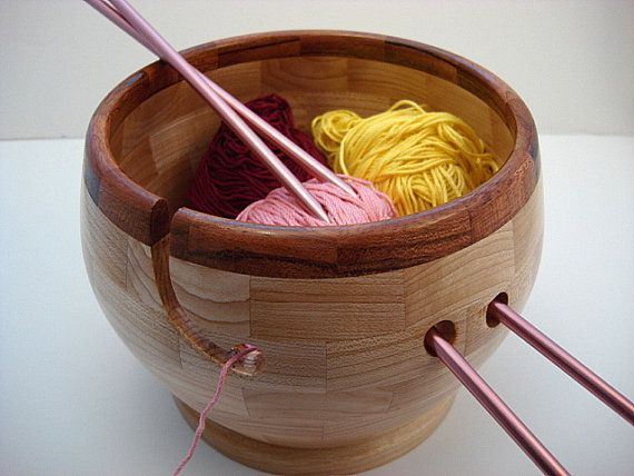 Wooden Knitting Bowl Cherry Rim Lathe Turned by TwistedTimber, $60.00