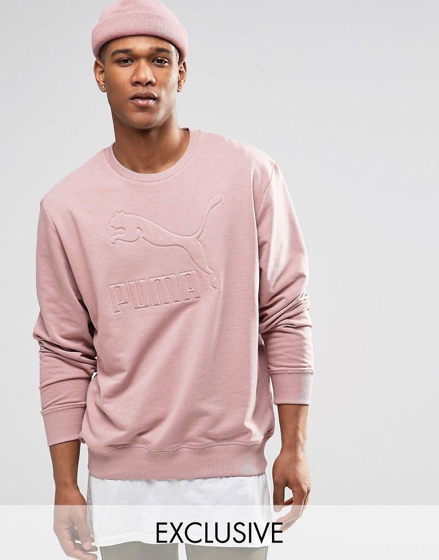Image 1 of Puma Oversized Sweatshirt In Pink Exlusive to asos