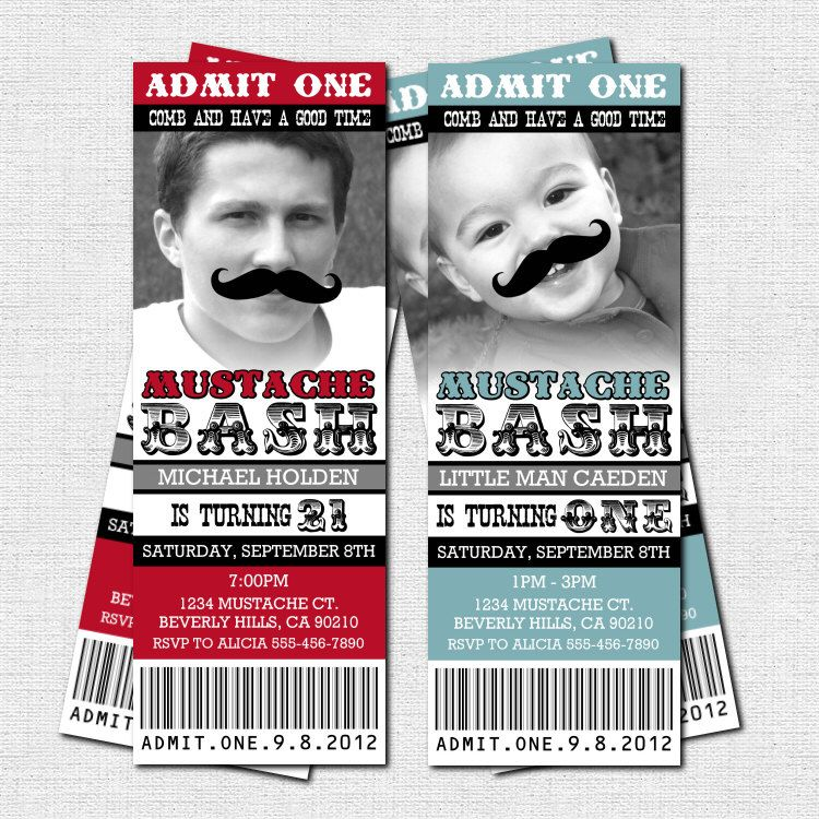 MUSTACHE TICKET INVITATIONS Birthday Little Man Bash Party - (print ...