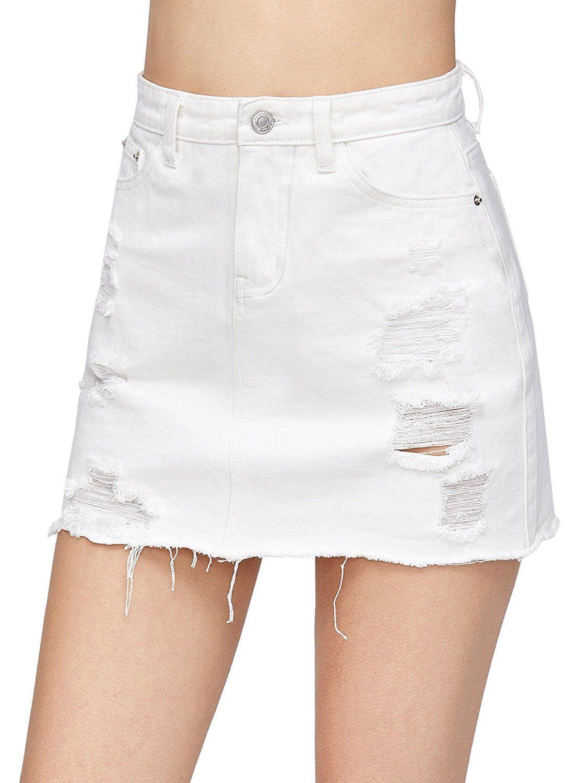 462a2ba95 Women's Casual Distressed Fray Hem A-Line Denim Short Skirt | Places ...