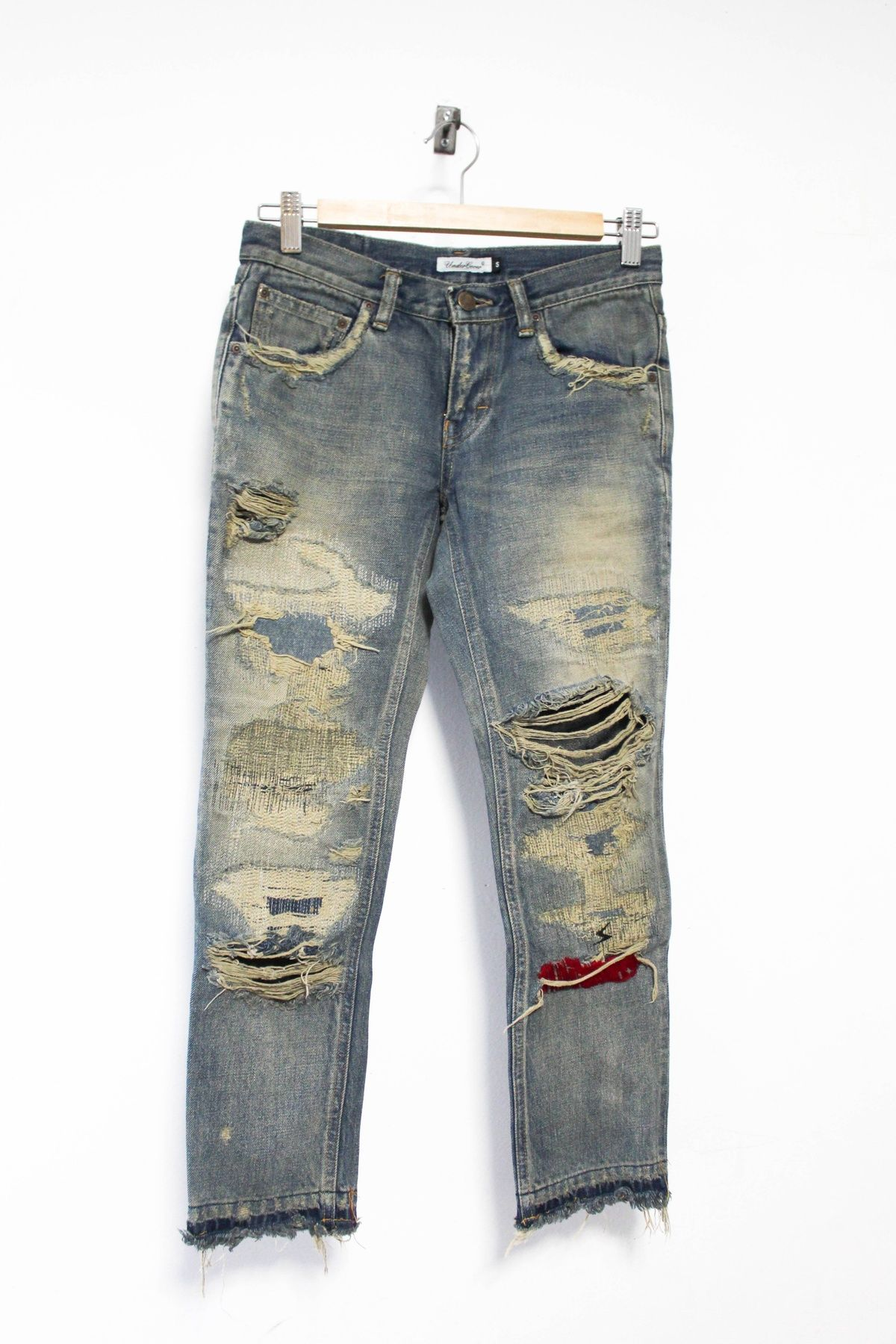 Undercover 68 Denim Distressed Deconstructed Pants Rare Womens version Size  S 100% Cotton Made in 584d6590c9