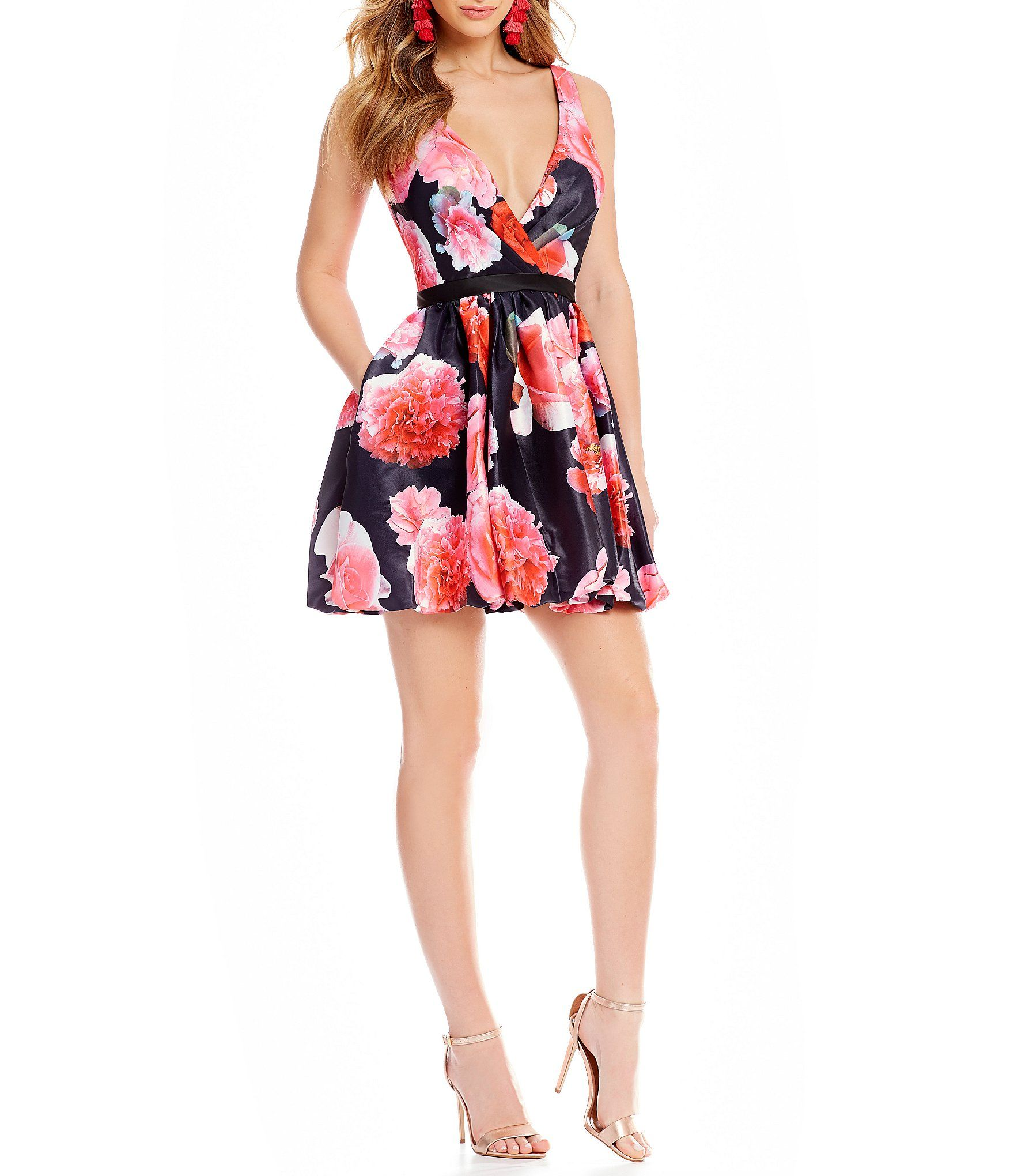 8cdf9943abf Glamour by Terani Couture Surplice Floral Print Fit and Flare Dress   Dillards