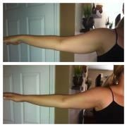 This was after 45 mins! She lost 1 inch in each arm and an additional inch after 72 hours!! Try the wraps, they are amazing!   laurenyoung.myitworks.com