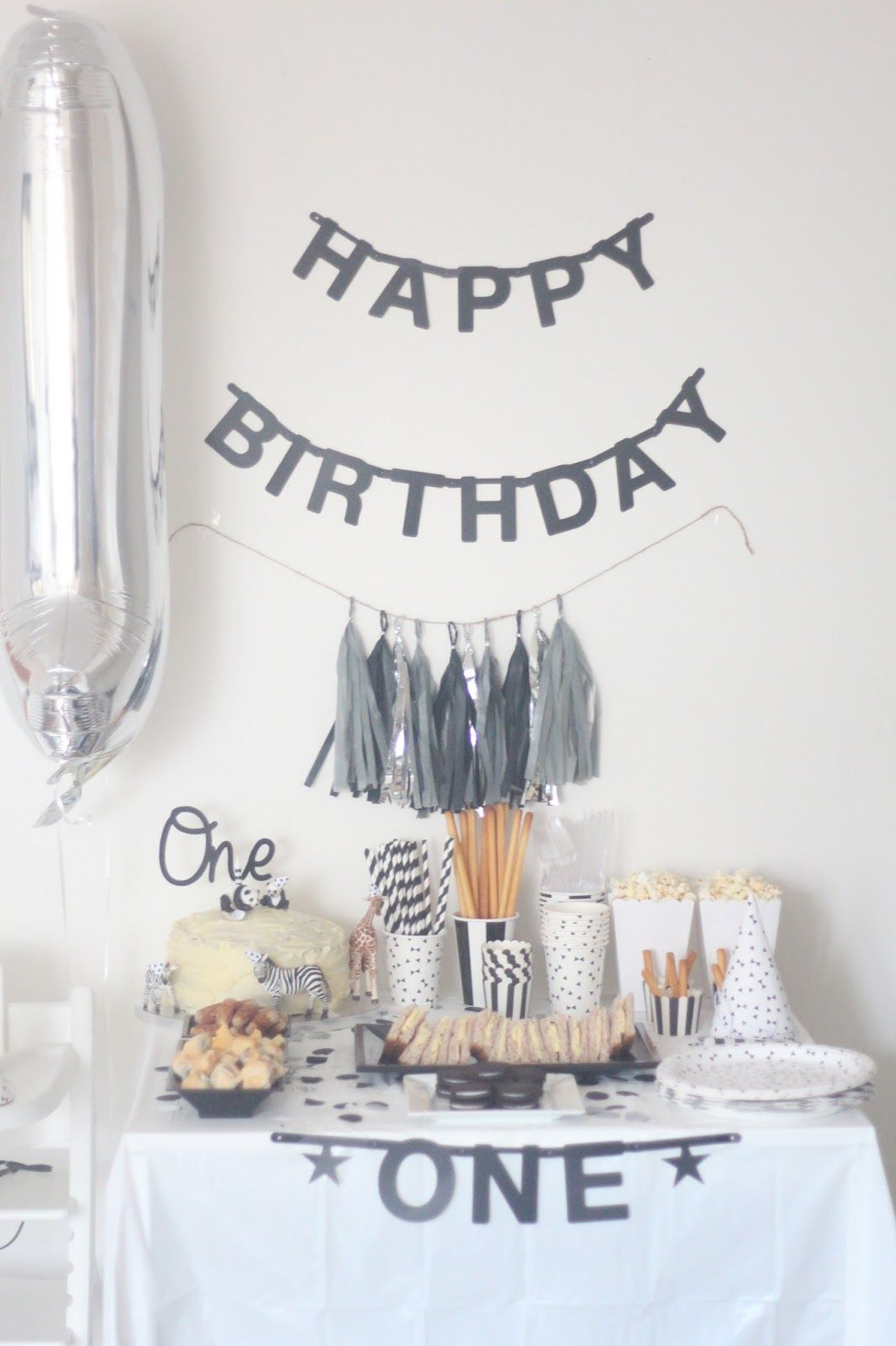 A Monochrome First Birthday Party First Birthdays Simple First