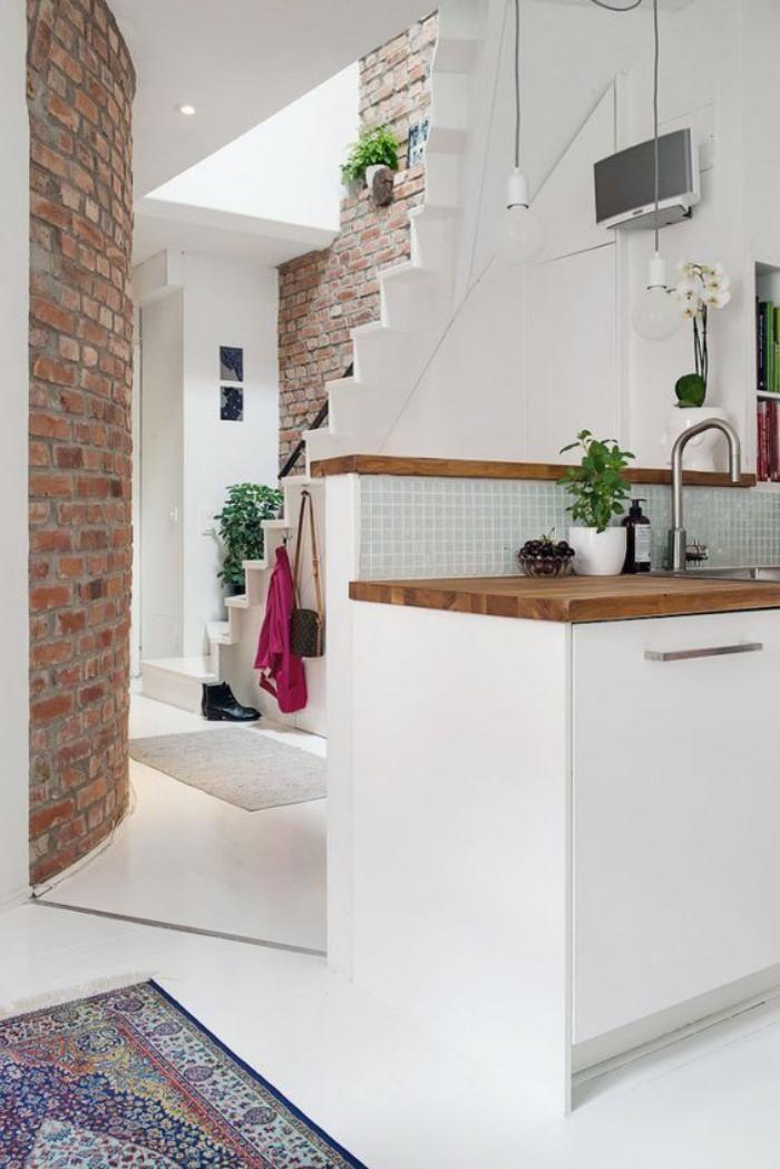la brique rouge l ment d co principal du loft contemporain pinterest brique. Black Bedroom Furniture Sets. Home Design Ideas