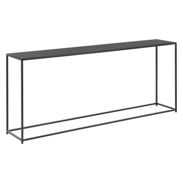 The Calvo Black Metal Console Table Is An Elegant Pared Back Design With A Graphic Silhouette In Matt Powder Coated Iron Now At Habitat Uk