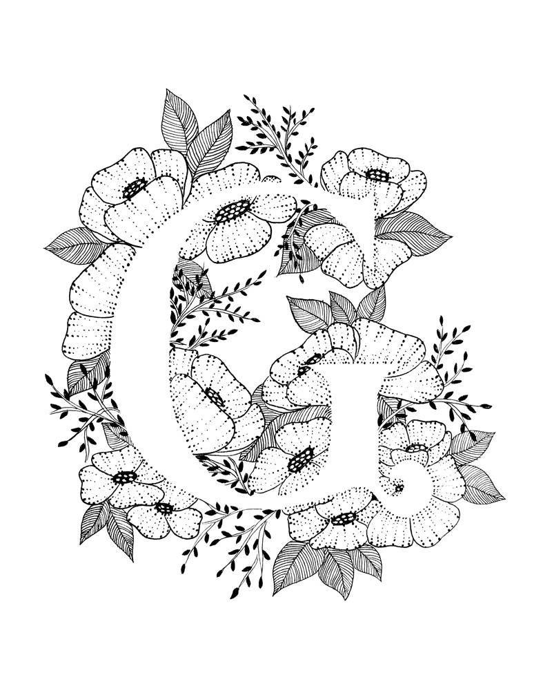 Letter G Print Alfabet Kalligrafie Typografie Monogram Etsy Ink Art Lettering Lettering Alphabet