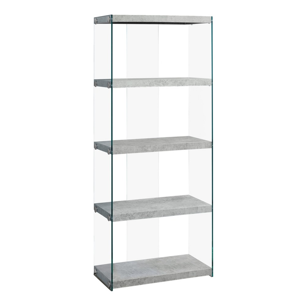 Book Case - Grey & Tempered Glass - EveryRoom, Gray